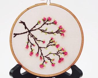 Japanese Sakura Cherry Blossoms Embroidery Hoop Art. Modern Wall Hanging. Beautiful Spring Fiber Art