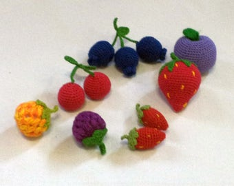 Crochet play food 10 pieces of different knitted berriesFruit Play Food, Toy Food, Crochet Food, Crocheted Food/crochet food play