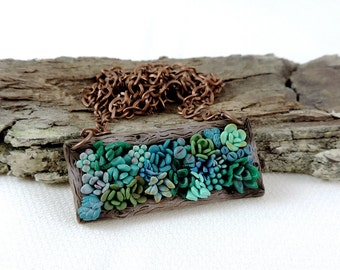 Succulent necklace - polymer clay jewelry - succulent pendant - floral jewelry - flower necklace