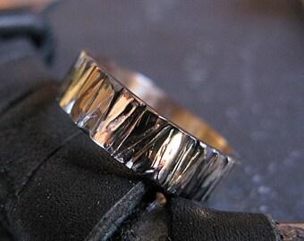 14K Gold Bark Ring Mens Wedding Band Mens Wedding Ring Rustic Mens Wedding Band Unique Mens Wedding Band Viking Wedding Ring Mens Wedding