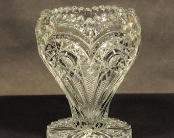 Imperial Glass Zippered Heart vase, antique glass vase, heart and zipper vase, Imperial Glass, flower petal base, sawtooth rim, glass heart
