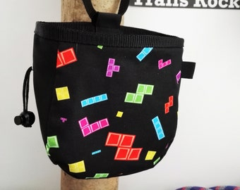 Chalk Bag Tetris, Arcade, Climbing Chalk Bag, Rock Climbing Chalk Bag, Rock Climber Gift, Geek chalk bag