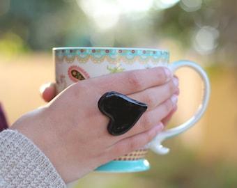 Heart ring Ceramic jewelry Ceramic ring Black ring