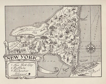 50's Vintage NEW YORK Picture Map Print of New York State Map Gallery Wall Art Pictorial Map Collector Gift For Traveler Birthday Wedding