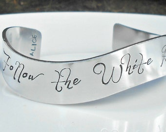 Follow the White Rabbit. Custom Stamped Jewelry. Alice in Wonderland.  Alice Fan. Inspirational Jewelry, Teenager gift, 16th Birthday