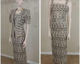 Vintage 90s embroidered gold metallic and black Evening Dress Gown size L