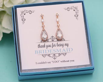 Bridesmaid Earrings Rose Gold, Personalized Bridesmaids Gift Set, Bridesmaid Earrings, Mia Rose Gold Earrings Bridesmaid Gifts