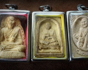 Antique Thai Buddhist Clay Reliquary Tsa Tsa/Your Choice Buddhist Bead Pendant in heavy acrylic and white metal bezel case ready to wear