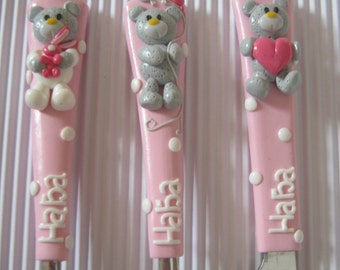 Teddy Bear Kids Flatware, Gift for Baby, Teddy Bear Spoon and Fork, Newborn Gift, Toddler Utensil, Personalized cutlery, Cutlery for Girls