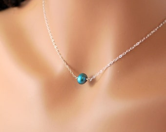 Single Freshwater Pearl Necklace, Teal Blue, Pearl Choker, Genuine Freshwater, Simple Sterling Silver Jewelry, Free Shipping