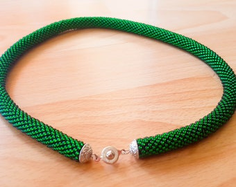 Forest green Beaded Rope Necklace