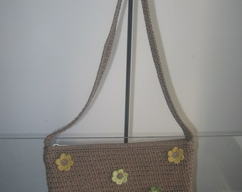 Recycled Crochet Shoulder Bag with flowers