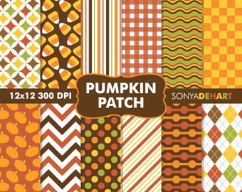 80% OFF SALE Fall Digital Papers, Halloween Papers, Fall Patterns, Autumn Patterns, Pumpkin Patterns, Digital Paper, Scrapbook Papers