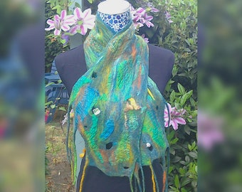 Felt scarf, felted wool scarf, green scarf, wool and silk scarf, merino wool scarf, wearable art, gift for her