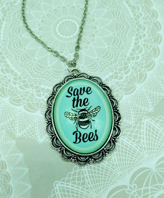 SAVE THE BEES- Silver and blue 30x40mm glass cameo Save The Bees pendant necklace