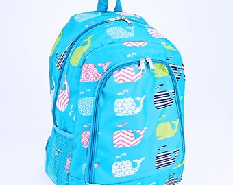Blue Whale Monogram Backpack   Monogram Book Bag    Book Carrier   Campus Must Have   Back to School   Birthday Gift   Whale Book Bag