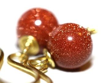 Brown Goldstone Earrings - 'Drama Queen'