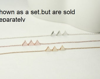 Three sisters necklace, 3 Sisters Jewelry, 3 triangle necklace,Chevron necklace,X-Mas Gift ,3 best friends ,Mom of twin, Mother 2 Children