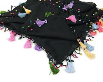 Black Tassel Scarf, Beaded Scarf, Black Scarf, Square Headscarf,Turkish Scarf with crochet trim