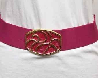 Vintage 1980s Women's Stretch Belt - Fucsia belt with enamel buckle