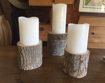 Natural Wood Candle Stands