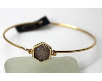 Agate druzy with Stainless Steel Bracelet