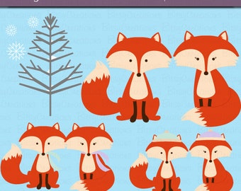 Winter Fox Clipart Digital Art Set INSTANT DOWNLOAD Fox Clipart Winter Clipart