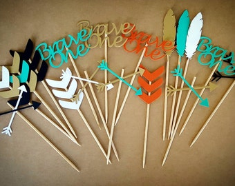 Brave One Cupcake Toppers / 12 Count / Brave One Birthday Decorations / Brave One First Birthday / Brave One Party Decorations / Brave One