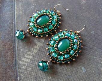 Emerald green Teal Earrings Beadwork Earrings Bead embroidery Earrings Green Copper Earrings Green Dangle Earrings Boho Ethic