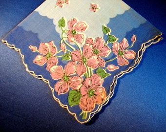 Pink floral hankie with blue hanky handkerchief scalloped edges