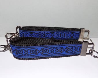2 Celtic Knot Key Fob Wristlets,1 Royal Blue & Black and 1 Black and Royal Blue
