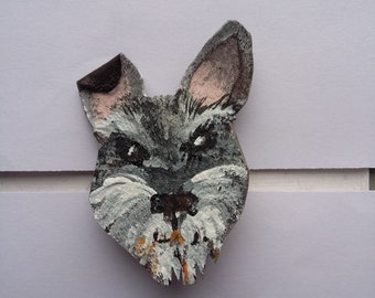 Handpainted Upcycled Leather Button Badge/Pin/Brooch - Martin the Schnauser