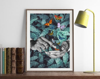 Surrealism collage art, green leave art print, surrealist poster, nature art print, butterfly print, tropical print - Believe in your magic.