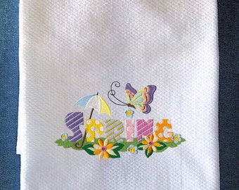 Signs Of Spring With Flowers And Butterfly Embroidered Kitchen Towel