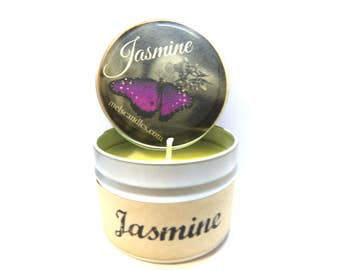 JASMINE 4 ounce soy tin candle - take it anywhere! Approximate Burn Time 30 Hours