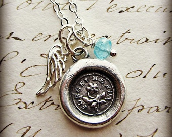 Lost Child Memorial Necklace - Remembrance Necklace - Forget Me Not Keepsake Jewelry - angel wing