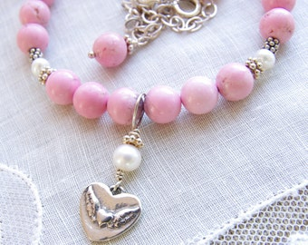Pink Bead Necklace Heart Jewelry Sterling Silver Pink Turquoise Magnesite Freshwater Pearl Romantic Heart Pendant Valentines Day Jewelry