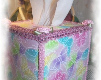 Pastel Butterflies Pink Glittered Square TISSUE COVER Sequined Border Pink Carnations for your Bathroom Kitchen Office Decor Great Gift
