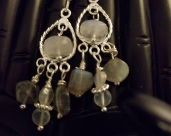 Rainbow   Moonstone and   Labradorite chandelier earrings