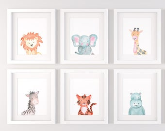 Safari nursery decor, Set of 6 safari animals, PRINTABLE nursery wall art P138