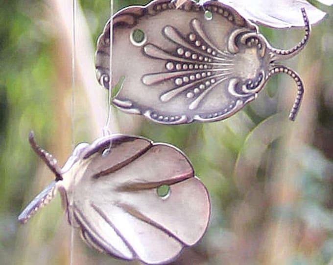 Fancy Tropical Fish Silverware Windchime, Flatware Wind Chime, Decorative Metal Art, Romantic Victorian Garden, Statement Berry Sugar Spoons
