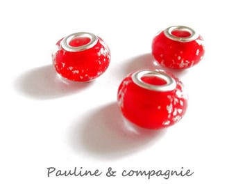 3 Red lampwork glass beads