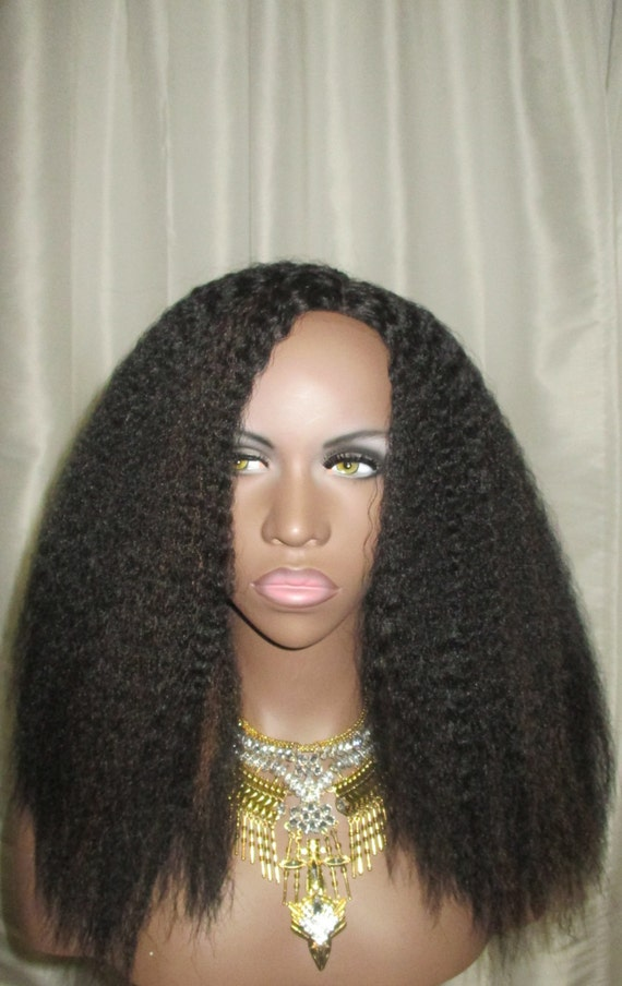 Essence Wigs Textured Full Cap Blow out Kinky Straight Wig Natural Hair Lace Wig Dark Brown w/ Highlights Unit 4b 4c 4a Lacefront Wig