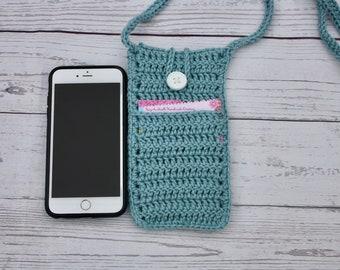 Cross body purse, crochet purse, cell phone holder, cross body bag, crossbody purse, sling bag, side purse, small purse, cell phone case