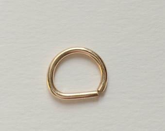 D Smooth Septum Ring, Rose Gold Septum Ring 14K Gold Filled 925 Sterling Silver Septum Ring.