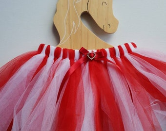 Girls fairy tutu skirt ~ Sz 3-5 - Candy Cane - red and white.