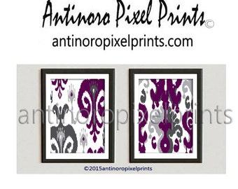 Ikat and Geometric Patterns Set of (2) 8x10 - Art Prints (Featured in Magenta Grey) Plum Ikat Wall Art (Unframed) #256344995