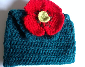 Blue/Green Poppy crocheted purse with button fastening