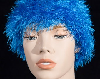 Blue Feathery Beanie