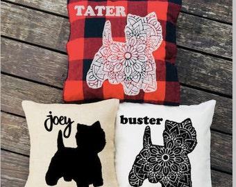 Personalized Westie Pillow - Silhouette Pillow - Dog Pillow Cover - Burlap Pillow - Home Decor - Decorative Pillow - Buffalo Plaid Pillow